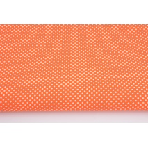 Cotton 100% white polka dots 2mm on an orange background