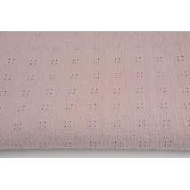 100% cotton, double gauze embroidered with flowers, powder pink