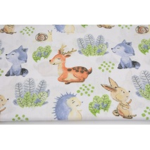 Cotton 100% blue foxes, hedgehogs on white