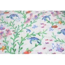 Cotton 100%, jellyfish, turtles on a white background