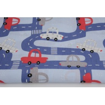 Cotton 100% cars, streets on a blue background