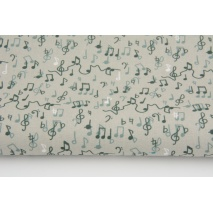 Cotton 100%, musical notes on a gray-beige background, GOTS