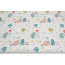 Cotton 100%, creatures, stars on a white background, GOTS
