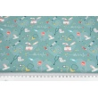 Cotton 100%, medical accessories on the azure background, GOTS