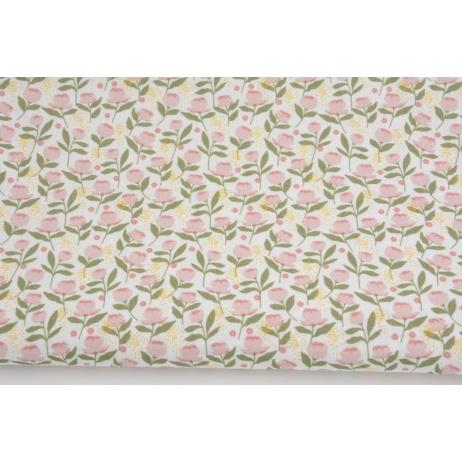 Cotton 100%, pink flowers, pollen on a white background, GOTS
