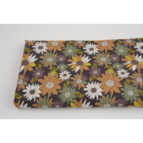 Cotton 100%, autumn flowers on a brown background, GOTS