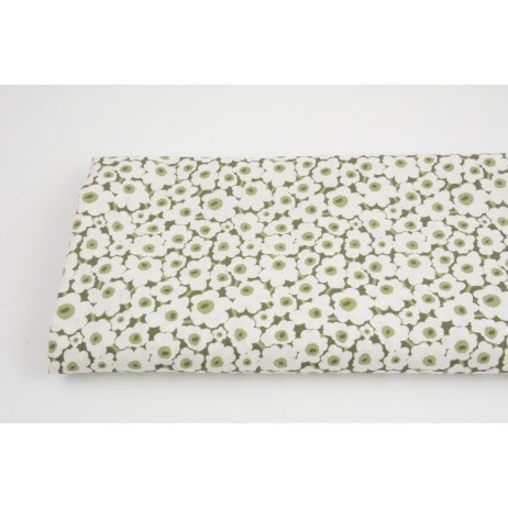 Cotton 100%, white flowers on a green background, GOTS