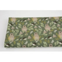 Cotton 100%, bear cubs, hedgehogs on a dark green background, GOTS