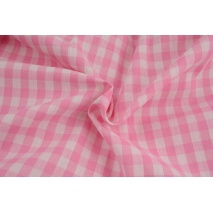 Cotton 100% double-sided, vichy check, pink, 1cm