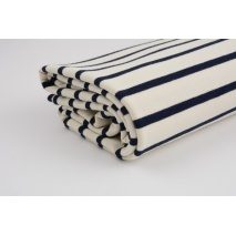 French terry navy stripes on a creme background