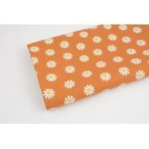 Cotton 100% flowers, daisy flowers on a ginger, poplin