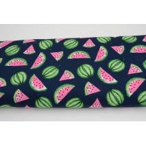 Bawełna 100% arbuzy różowo-zielone na granatowym tle, popelina