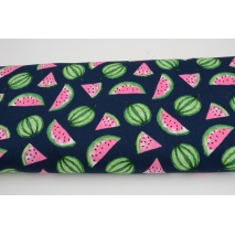 Cotton 100% pink and green watermelons on a navy background, poplin