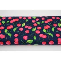 Cotton 100% cherries on a navy background, poplin