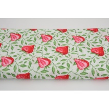 Cotton 100% stawberries with twigs on a white background, poplin