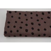 Double gauze 100% cotton draw dots on a heather brown background