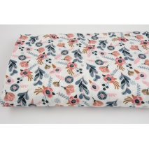 Double gauze 100% cotton pink caramel flowers a white background