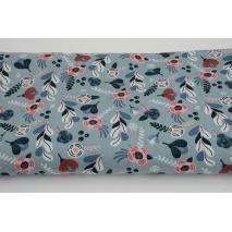Bawełna 100%, różowe kwiaty na gołębim niebieskim, popelina