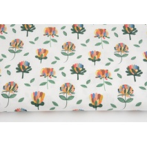 Cotton 100%, colorful flowers on a white background, GOTS