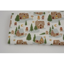 Cotton 100%, gingerbread houses on a white background, GOTS
