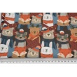Cotton 100%,  pets in scarves on a navy background, GOTS