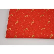 Bawełna 100%, złote motywy świąteczne na czerwonym tle GOTS