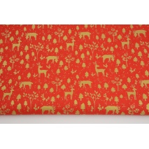 Cotton 100%, golden deer on a red background GOTS