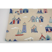 Decorative fabric, lighthouses beach houses on a linen background 200 g/m2