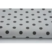 Bawełna 100% szara w czarne kropki 7mm