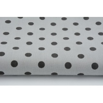Cotton 100% black 7mm dots on a gray background