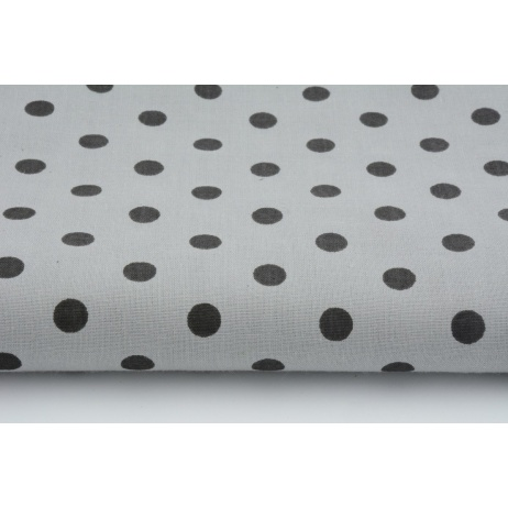 Bawełna szara w czarne kropki 7mm