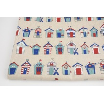 Decorative fabric, beach houses in lines on a linen background 200 g/m2