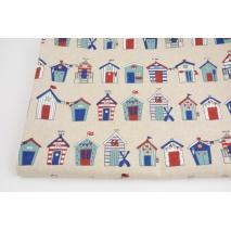 Tkanina dekoracyjna, domki plażowe w rzędach na lnianym tle 200g/m2