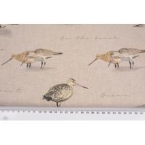 Tkanina dekoracyjna, nadmorskie ptaki na lnianym tle 200g/m2