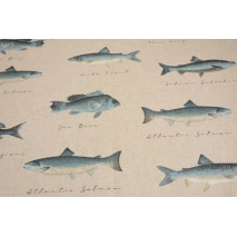 Decorative fabric, fishes on linen background 200 g/m2