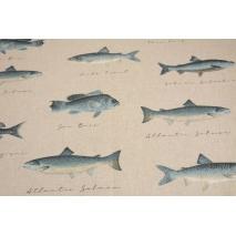 Tkanina dekoracyjna, ryby na lnianym tle 200g/m2
