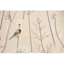 Decorative fabric, birds on branches on linen background 200 g/m2