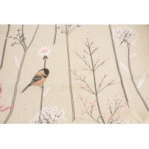 Tkanina dekoracyjna, ptaki na gałęziach na lnianym tle 200g/m2