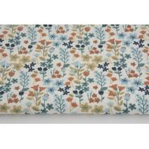 Bawełna 100% niebiesko-beżowa łąka na białym tle