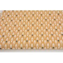 Bawełna 100% pawie piórka na karmelowym tle