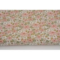 Cotton 100% pink sage flowers on a beige background