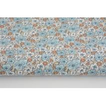 Cotton 100% blue caramel flowers on a beige background