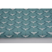Cotton 100% cranes on a turquoise background