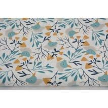 Cotton 100% turquoise cranes honey flowers