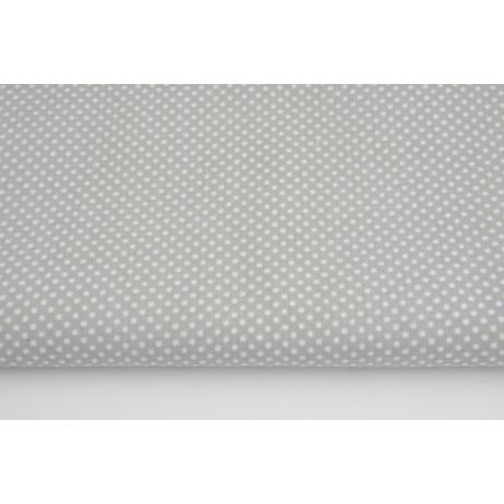 Bawełna 100% kropki białe 2mm na jasnoszarym tle