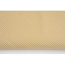 Bawełna 100% kropki białe 2mm na beżowym tle