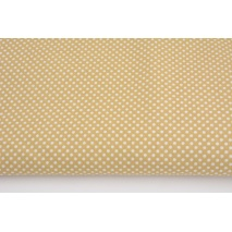 Cotton 100% white 2mm polka dots on a beige background