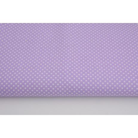 Bawełna 100% kropki białe 2mm na lawendowym tle