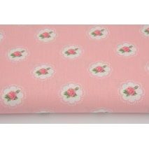 Cotton 100% small roses on a pink background, poplin M