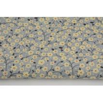 Bawełna 100% batyst, żółte kwiatki na szarym tle